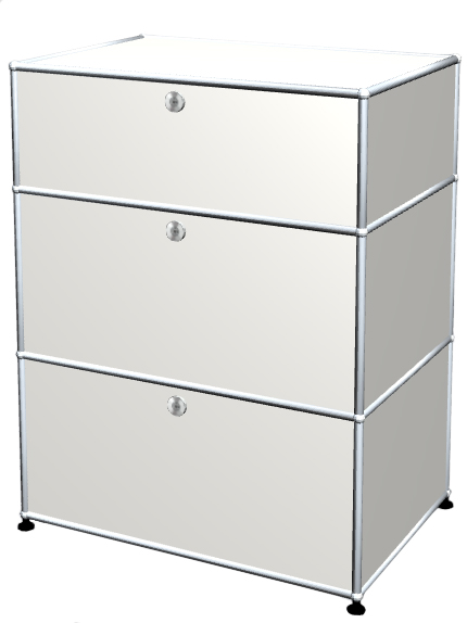 Usm Haller Usm Haller Storage Unit With 3 Drawers H 95 4 X W 75 X D 50 Cm Pure White Ral 9010