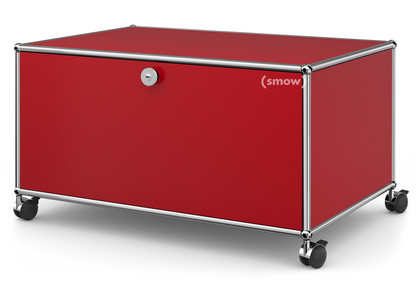 USM Haller TV Lowboard with Castors With drop-down door and rear panel|USM ruby red