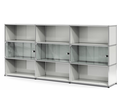 USM Haller Highboard XL with 3 Glass Doors with lock handle|Light grey RAL 7035