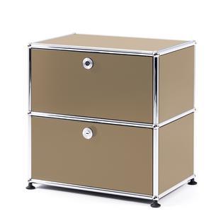 USM Haller Bedside Table with 2 Drop-down Doors USM beige