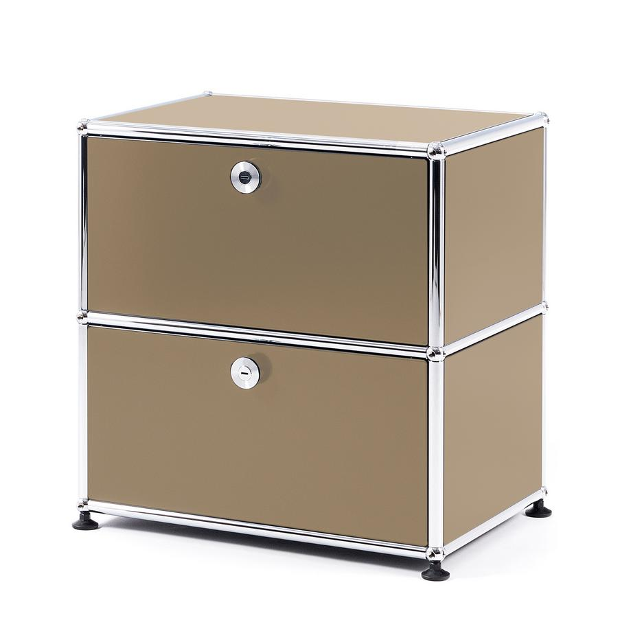 usm haller bedside table with 2 drop down doors usm beige. Black Bedroom Furniture Sets. Home Design Ideas