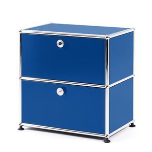 USM Haller Bedside Table with 2 Drop-down Doors Gentian blue RAL 5010