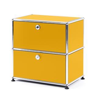 USM Haller Bedside Table with 2 Drop-down Doors Golden yellow RAL 1004