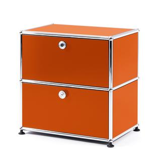 USM Haller Bedside Table with 2 Drop-down Doors Pure orange RAL 2004