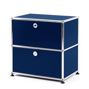 USM Haller Bedside Table with 2 Drop-down Doors Steel blue RAL 5011