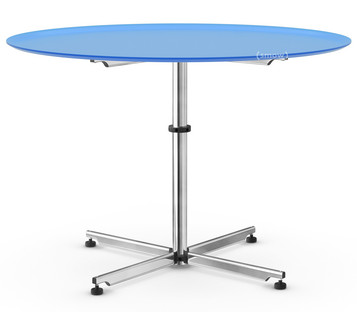 USM Kitos Circular Table Ø 110 cm|Glass|Gentian blue RAL 5010
