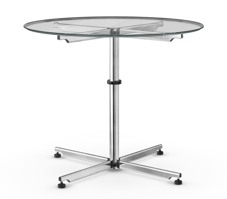 usm haller usm kitos circular table 90 cm glass transparent by usm 1990 designer. Black Bedroom Furniture Sets. Home Design Ideas