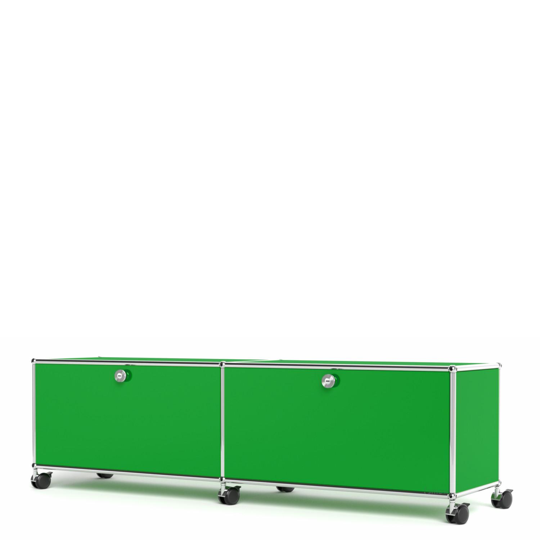 usm haller tv hi fi lowboard customisable usm green with 2 drop down doors with cable entry. Black Bedroom Furniture Sets. Home Design Ideas