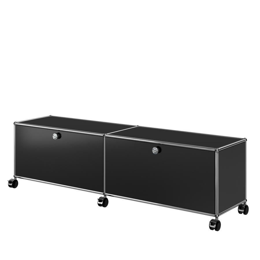 usm haller tv hi fi lowboard customisable anthracite ral 7016 open with cable entry hole. Black Bedroom Furniture Sets. Home Design Ideas
