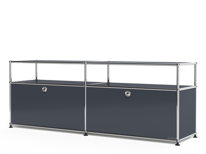 USM Haller Lowboard L with Extension, Customisable Anthracite RAL 7016 With 2 drop-down doors With cable entry hole bottom centre