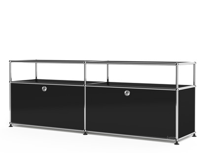 USM Haller Lowboard L with Extension, Customisable Graphite black RAL 9011 With 2 drop-down doors With cable entry hole bottom centre