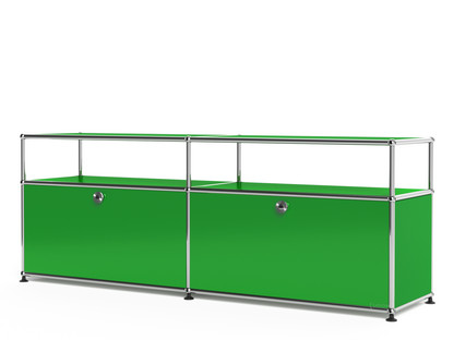 USM Haller Lowboard L with Extension, Customisable USM green|With 2 drop-down doors|With cable entry hole bottom centre