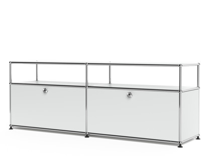 USM Haller Lowboard L with Extension, Customisable USM matte silver|With 2 drop-down doors|With cable entry hole bottom centre
