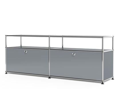 USM Haller Lowboard L with Extension, Customisable Mid grey RAL 7005|With 2 drop-down doors|Without cable entry hole