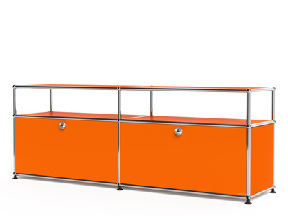 USM Haller Lowboard L with Extension, Customisable Pure orange RAL 2004|With 2 drop-down doors|With cable entry hole bottom centre