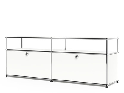 USM Haller Lowboard L with Extension, Customisable Pure white RAL 9010|With 2 drop-down doors|Without cable entry hole