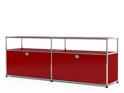 USM Haller Lowboard L with Extension, Customisable USM ruby red|With 2 drop-down doors|With cable entry hole bottom centre