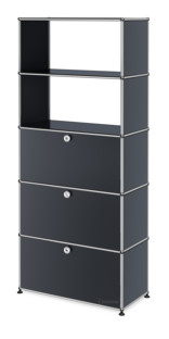 USM Haller Storage Unit with Drop-down Doors and Drawer Anthracite RAL 7016