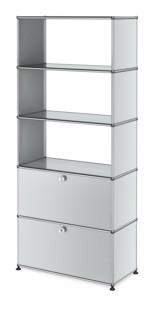 USM Haller Storage Unit with 2 Doors, without upper Rear Panels Light grey RAL 7035