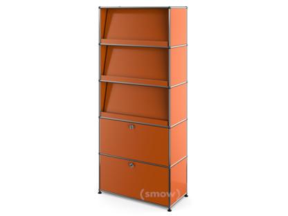 USM Haller Storage Unit with 3 Angled Shelves Pure orange RAL 2004