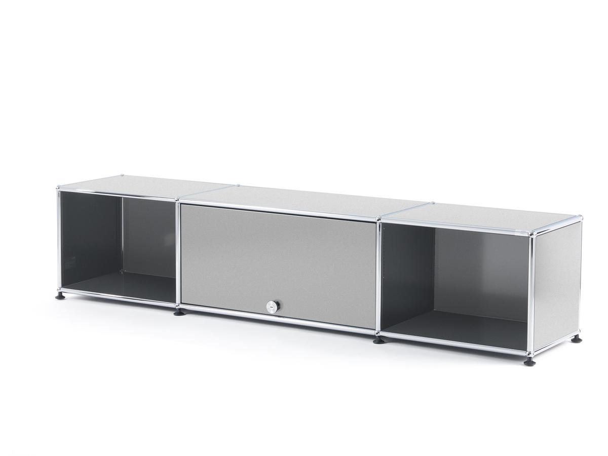 usm haller tv lowboard with flip up door usm matte silver. Black Bedroom Furniture Sets. Home Design Ideas