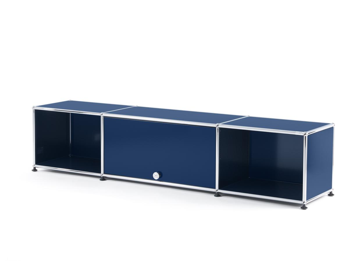 usm haller tv lowboard with flip up door steel blue ral 5011 by fritz haller paul sch rer. Black Bedroom Furniture Sets. Home Design Ideas