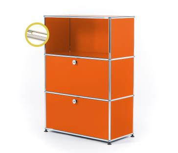 USM Haller E Highboard M with Compartment Lighting Pure orange RAL 2004|Warm white