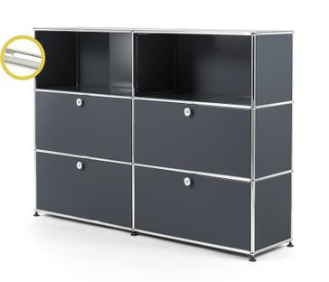 USM Haller E Highboard L with Compartment Lighting Anthracite RAL 7016|Cool white