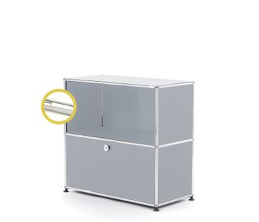 USM Haller E Sideboard M with Compartment Lighting USM matte silver Cool white