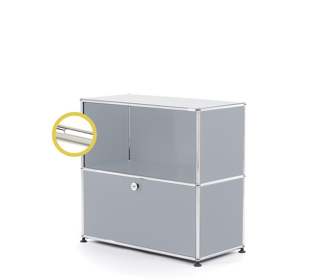 USM Haller E Sideboard M With Compartment Lighting USM Matte Silver|Cool  White