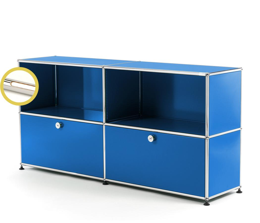 USM Haller E Sideboard L With Compartment Lighting Gentian Blue RAL  5010|Warm White