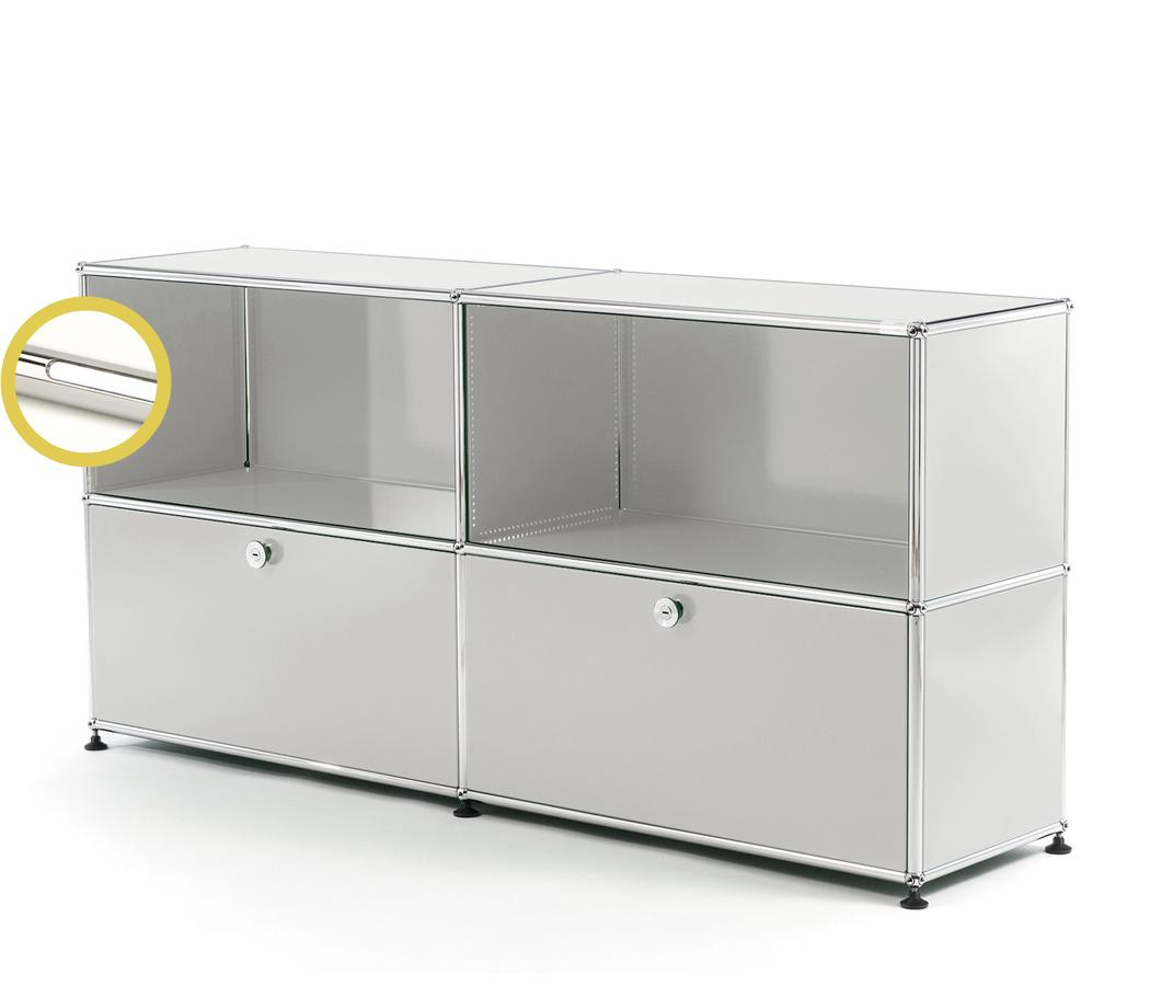 USM Haller E Sideboard L With Compartment Lighting Light Grey RAL 7035|Cool  White Design
