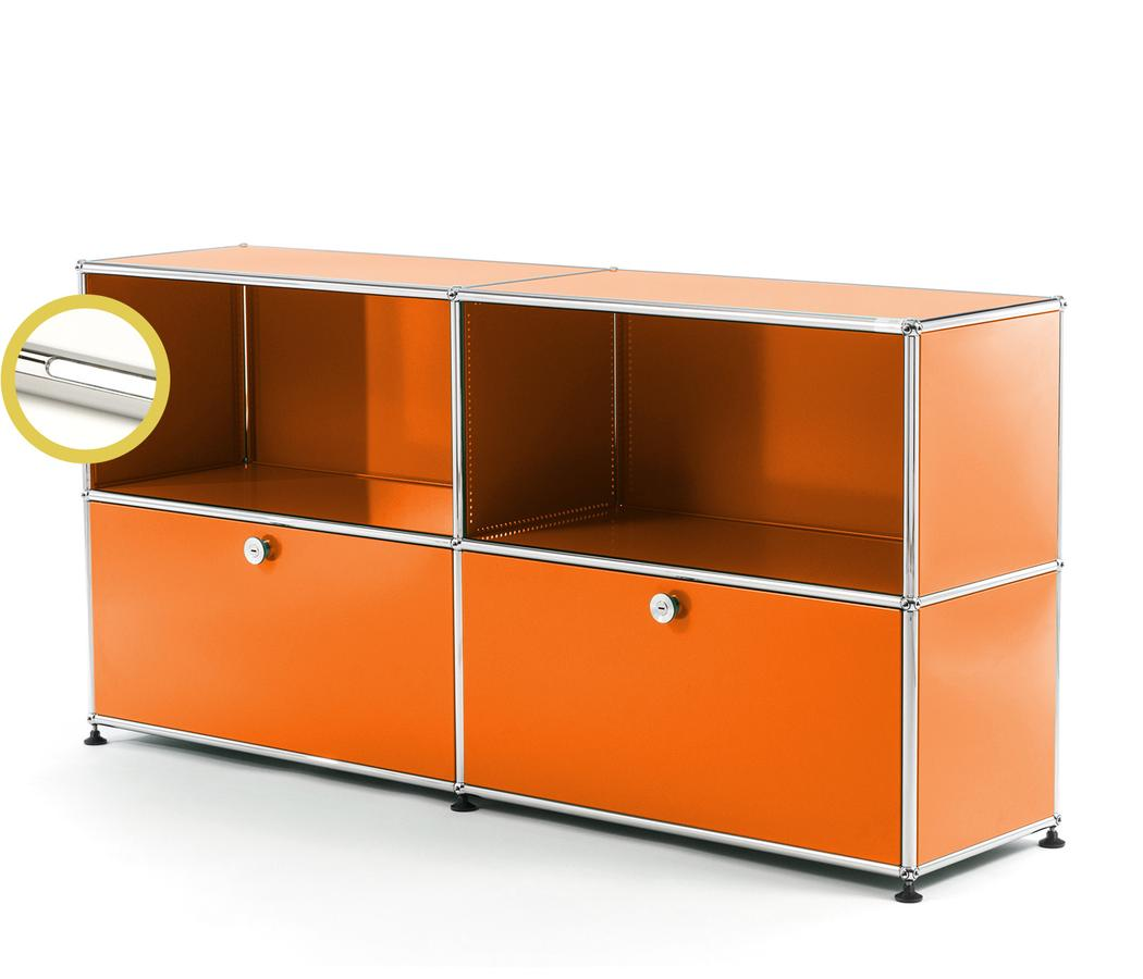 USM Haller E Sideboard L With Compartment Lighting Pure Orange RAL  2004|Cool White