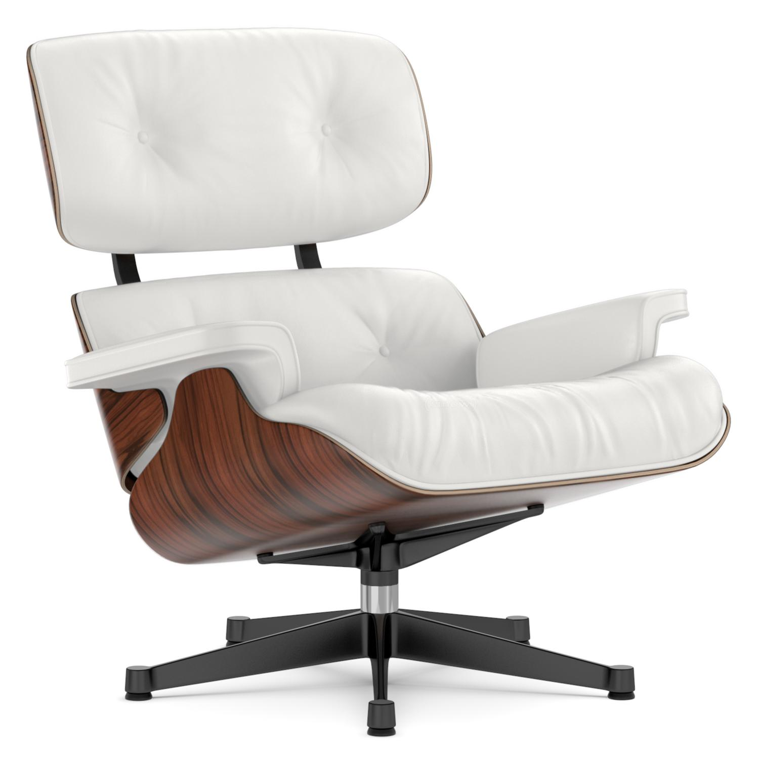 Lounge Chair Santos Palisander|Snow|89 Cm|Aluminium Polished, Sides Black