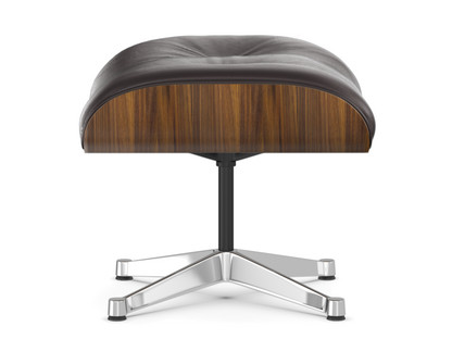 Lounge Chair Ottoman Walnut with black pigmentation|Chocolate|Aluminium chrome-plated