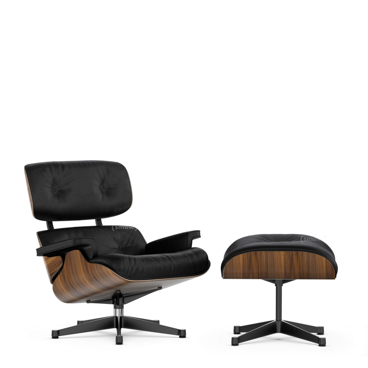 Vitra lounge chair ottoman by charles ray eames 1956 for Chaise design eams