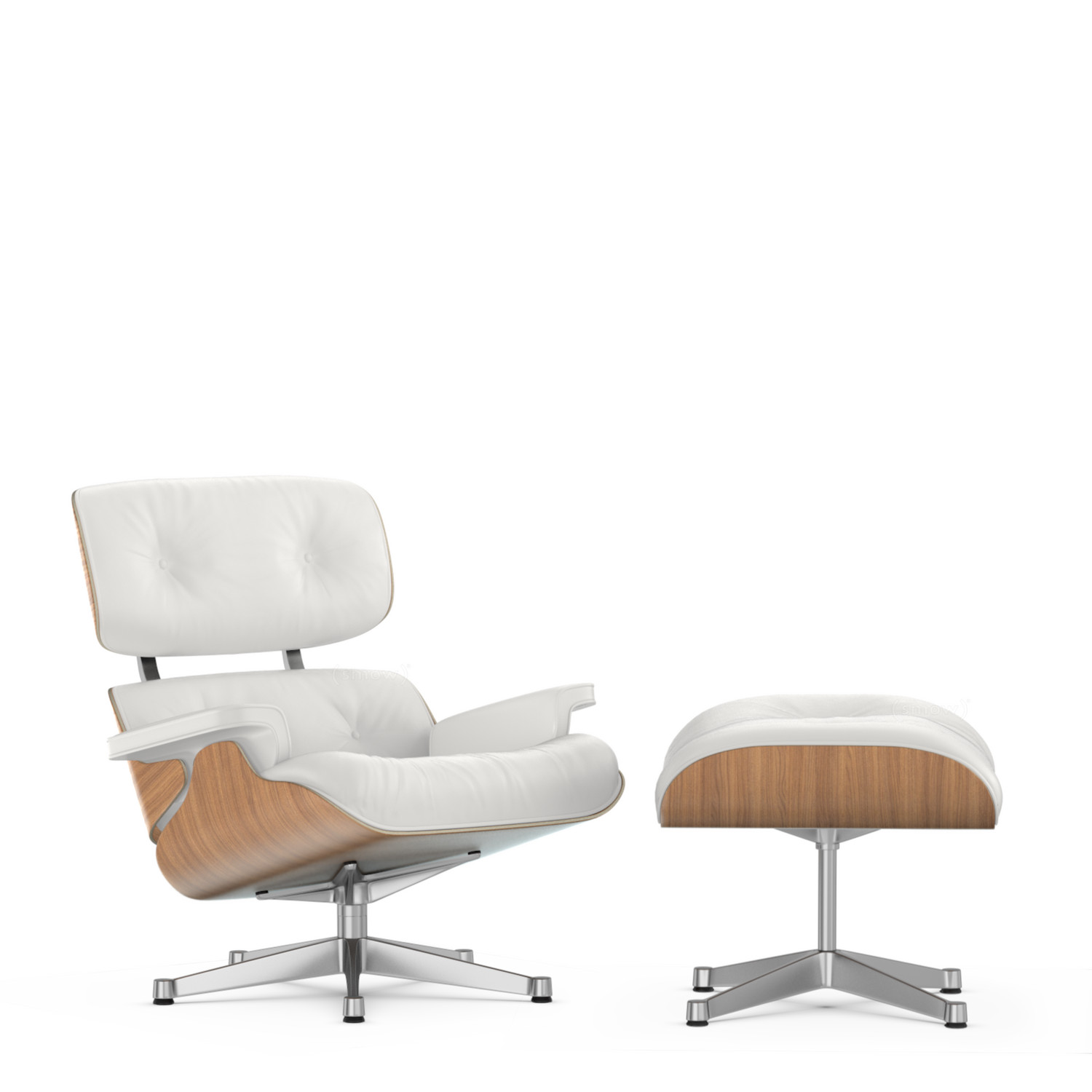 Vitra Lounge Chair & Ottoman White Version Walnut with white pigmentati