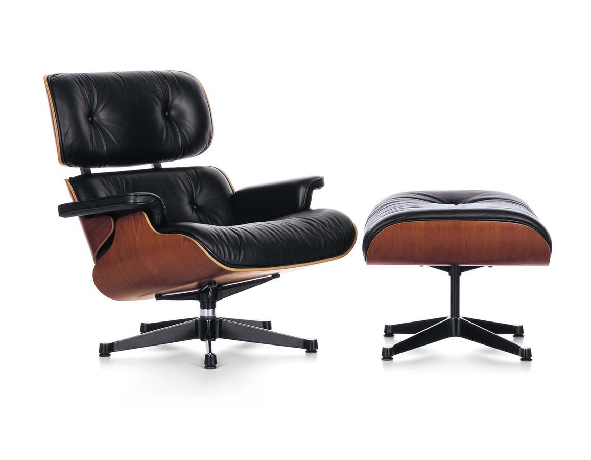 Vitra lounge chair ottoman by charles ray eames 1956 for Charles eames lounge chair nachbildung