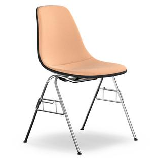 Eames Plastic Side Chair DSS Basalt Grey With Full Upholstery Cognac /  Ivory 