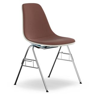 Eames Plastic Side Chair DSS Navy Blue With Full Upholstery Marron / Moor  Brown