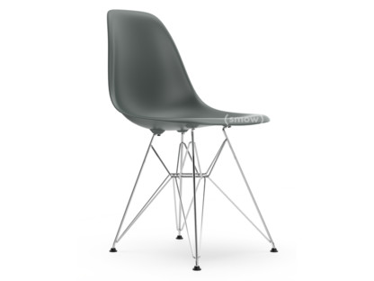 Eames Plastic Side Chair DSR Granite grey|Without upholstery|Without upholstery|Standard version - 43 cm|Chrome-plated