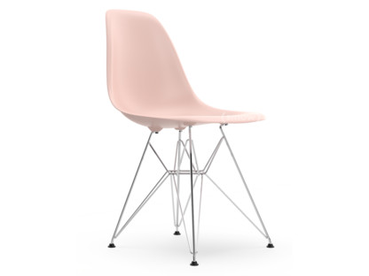 Eames Plastic Side Chair DSR Pale rose|Without upholstery|Without upholstery|Standard version - new (43 cm)|Chrome-plated