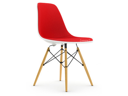 Eames Plastic Side Chair DSW White With full upholstery Red / poppy red Lower version - classic (41 cm) Yellowish maple