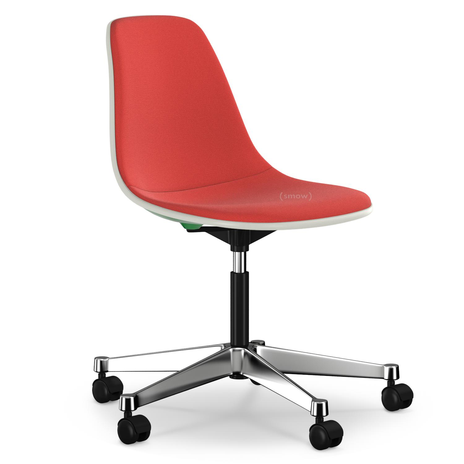 Eames Plastic Side Chair PSCC Classic Green|With Full Upholstery|Red /  Cognac