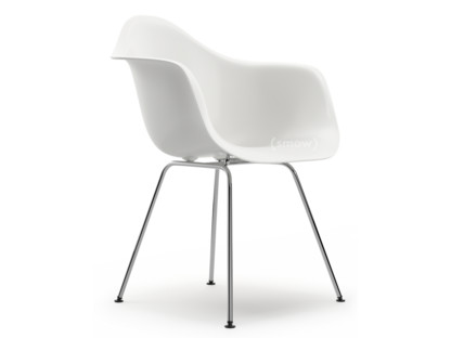 Eames Plastic Armchair DAX White|Without upholstery|Without upholstery|Standard version - 43 cm|Chrome-plated