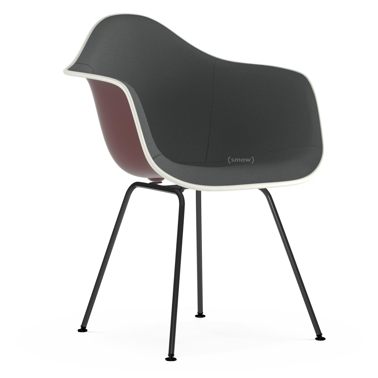 Eames Plastic Armchair DAX Oxide Red|With Full Upholstery|Dark  Grey|Standard Version