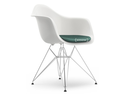 Eames Plastic Armchair DAR White|With Seat Upholstery|Ice Blue /  Ivory|Standard