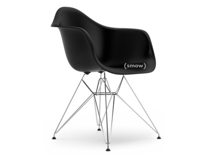 Eames Plastic Armchair DAR Deep black|Without upholstery|Without upholstery|Standard version - new (43 cm)|Chrome-plated