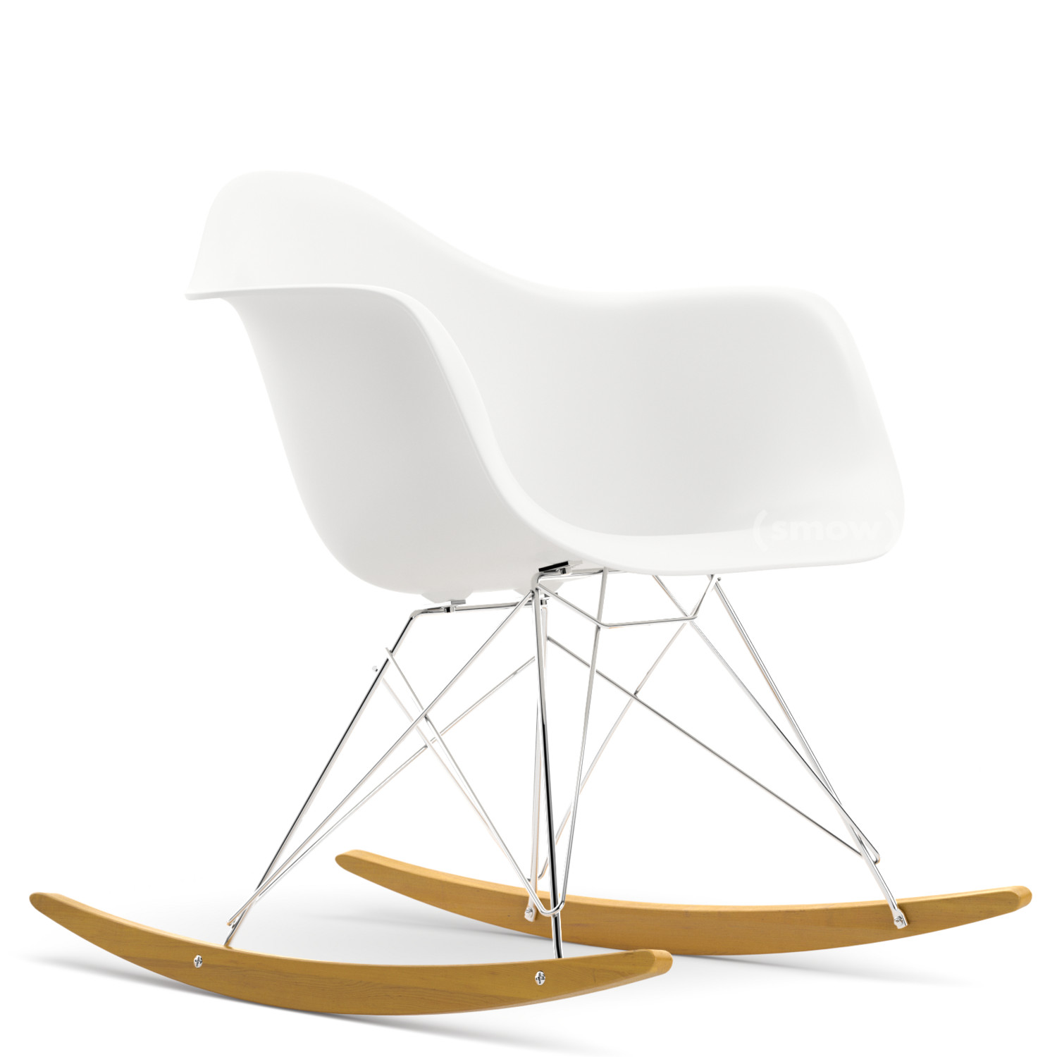 Eames Plastic Armchair RAR White|Chrome Plated|Yellowish Maple