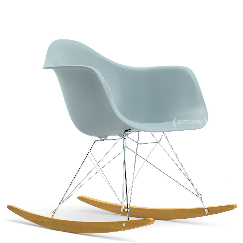 Eames plastic rocking chair - Eames Plastic Armchair Rar Ice Grey Chrome Plated Yellowish Maple